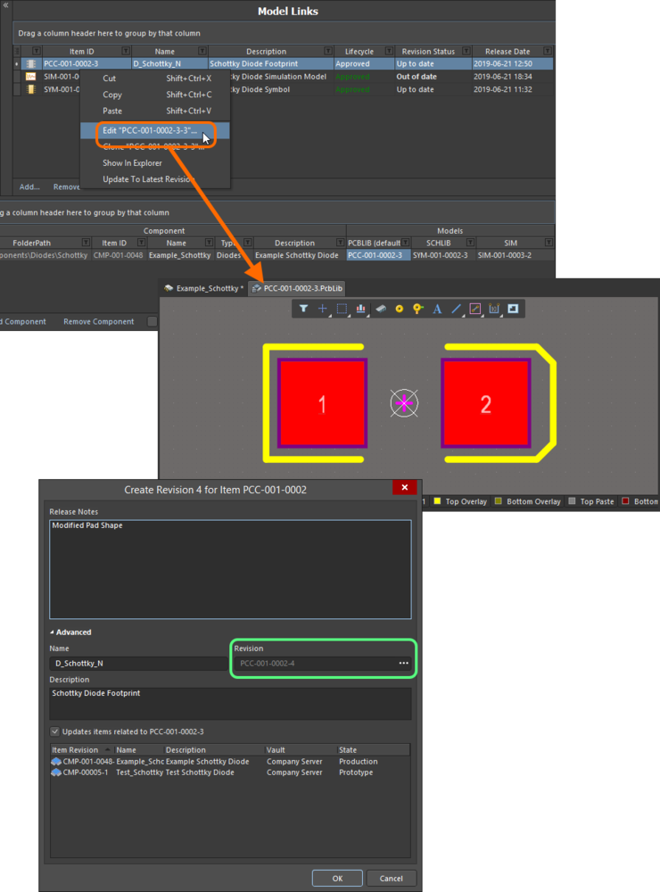 Edit and release a model directly from the Model Links region of the Component Editor.