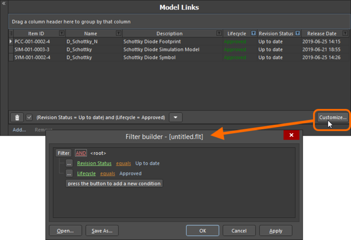 Use the Filter Builder dialog to create more sophisticated filtering.