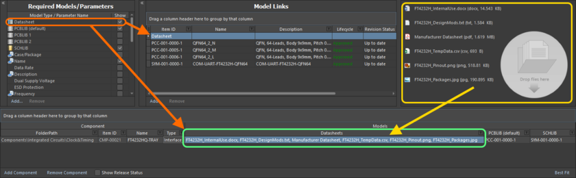 Linking various datasheets, as seen from the perspective of editing a component in the Component Editor.