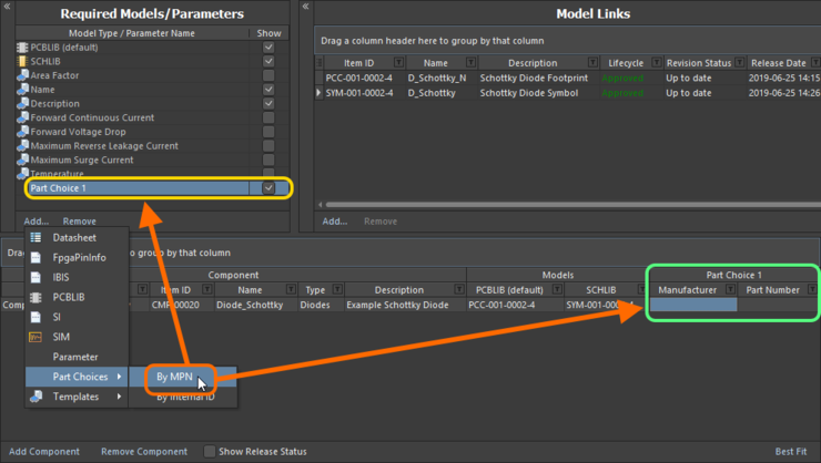 Adding a part choice (By MPN) for use with the component(s) being defined. Hover to see an example part choice added By Internal ID - allowing you to hook up a part from your company's internal parts database.