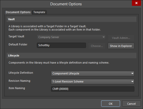 Server settings are defined through the Document Options dialog.