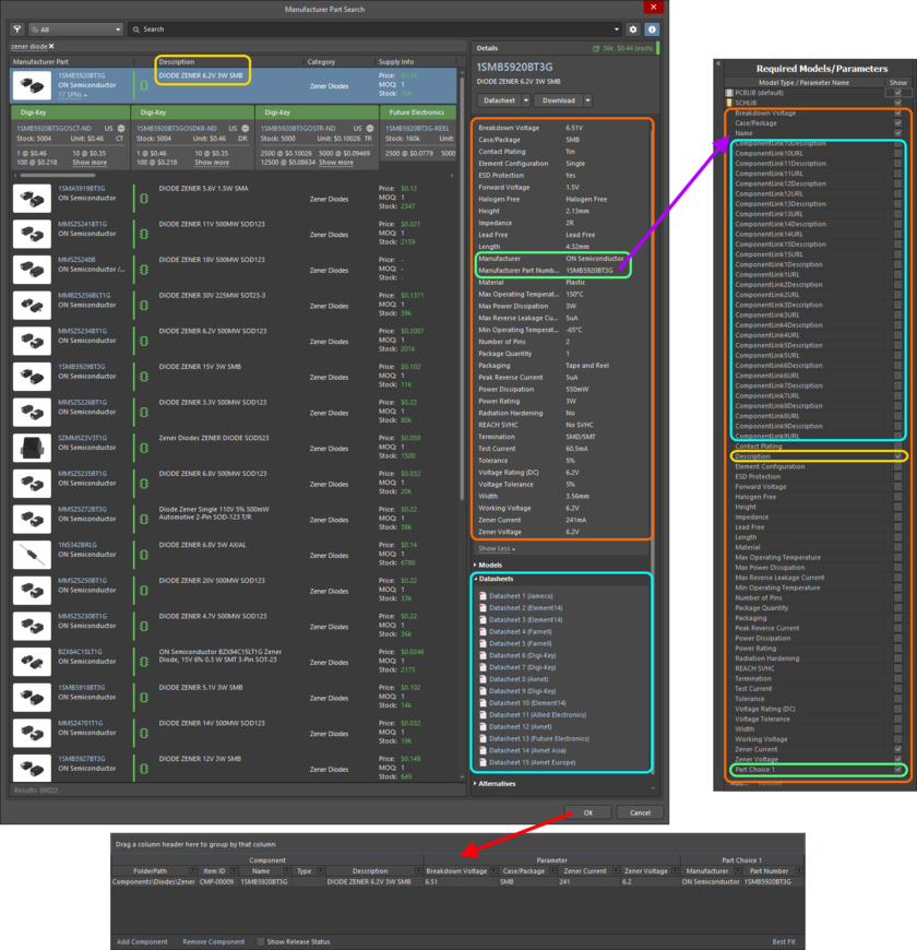 Example of the resulting definition, and added parameters, for a selected part in the Manufacturer Part Search dialog. Highlighting is used to show the data that is brough in from the Manufacturer Part.