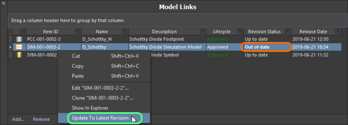 The Component Editor details any model that is not at the latest revision, right-click to update to the latest revision.