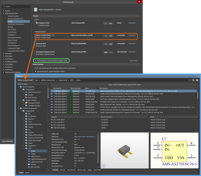 Access and connect to Altium's own vault - the Altium Content Vault - and the considerable design content it contains.