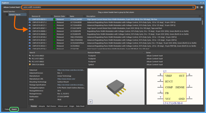 Use the Altium Content Vault's search facility to quickly find the content you need.