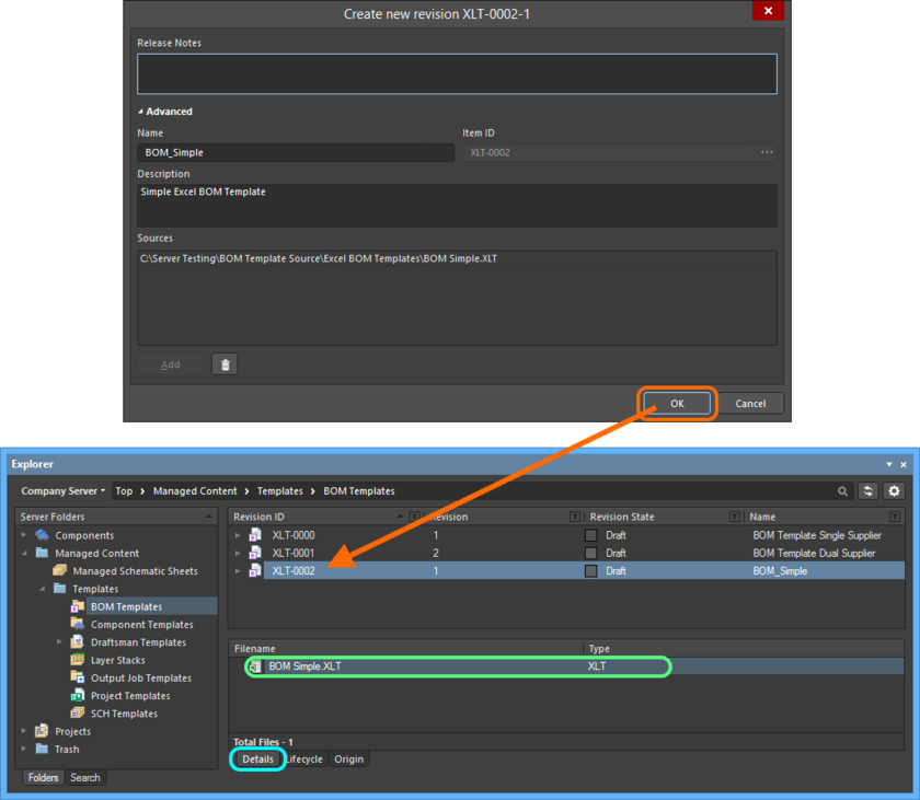 The uploaded file is listed on the Details aspect view tab for the revision of the BOM Template Item.