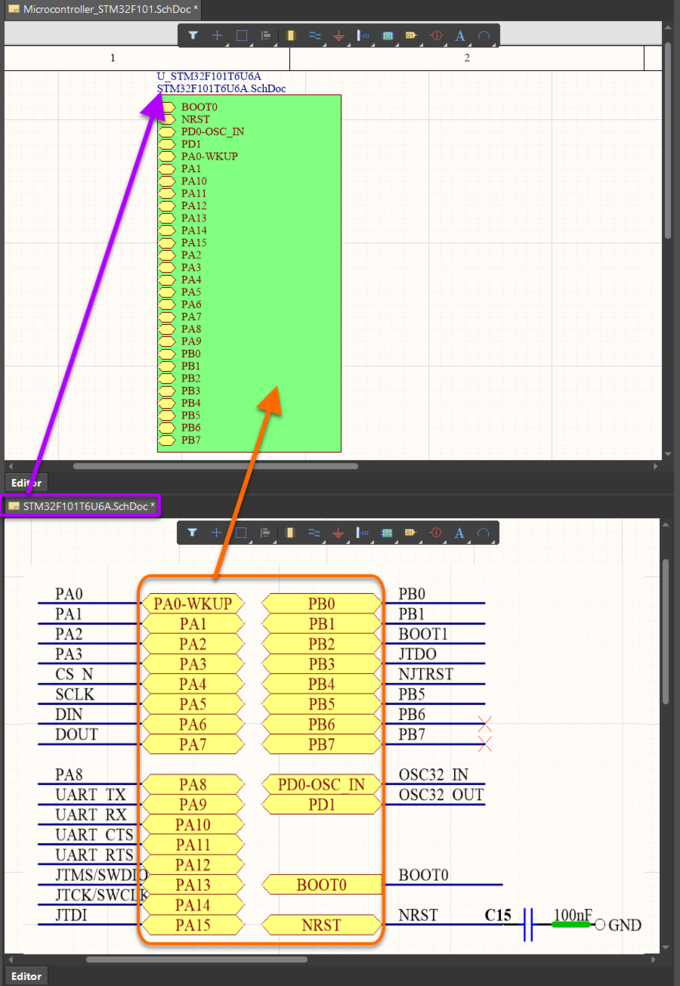 Use the Create Sheet Symbol From Sheet command to quickly add a sheet symbol, thereby threading the sub-circuit into the design hierarchy.