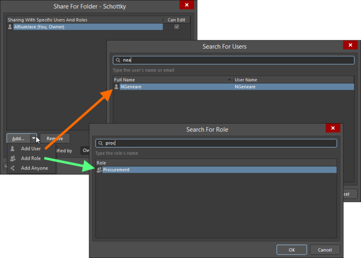 Example of adding a user and a role. Roll over the image to compare configuration in the Explorer panel, with configuration through the browser interface.