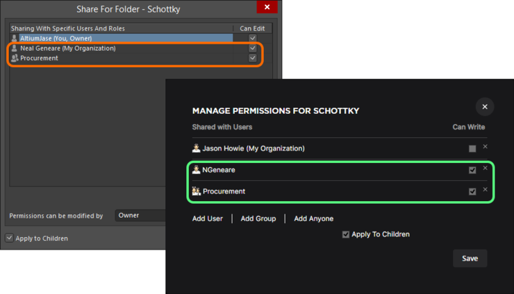 The result of adding a single user and role to the permissions list for both Explorer panel interface (background) and browser interface (foreground).