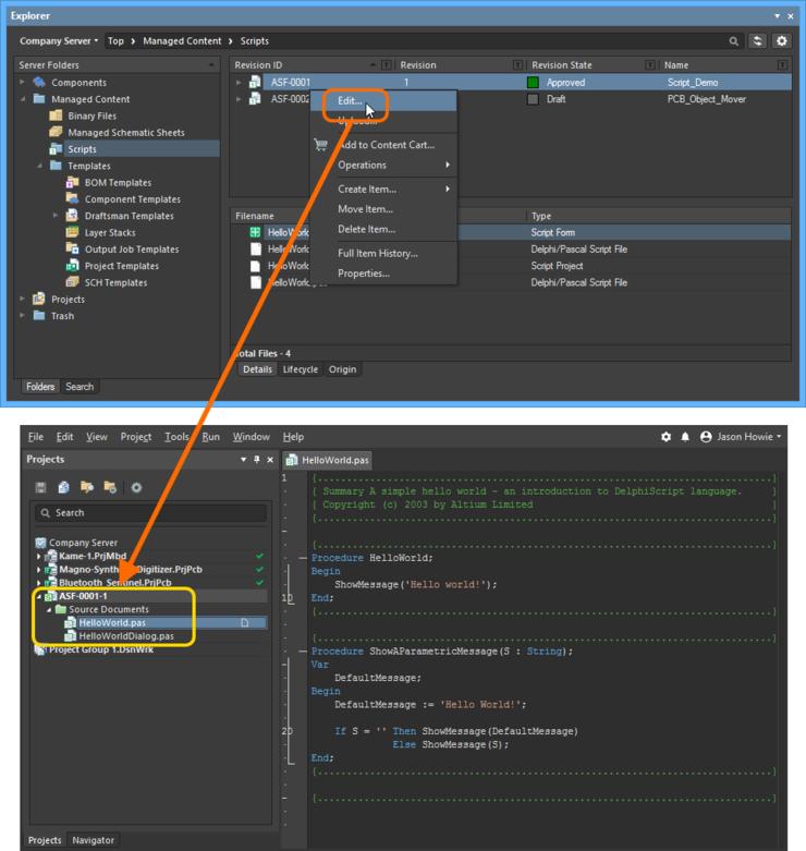 Доступ к команде на запуск прямого редактирования существующей ревизии объекта Script Item.