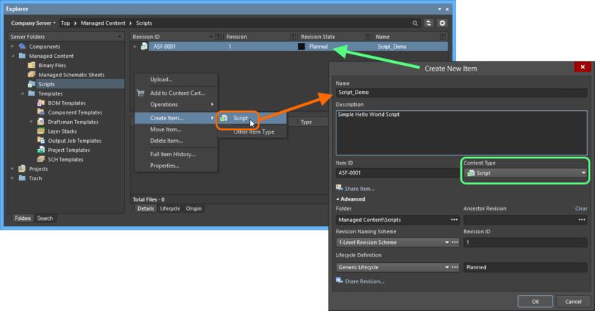 Создание объекта Script Item в папке Scripts. Нужный тип содержимого (Content Type) доступен в контекстном меню.
