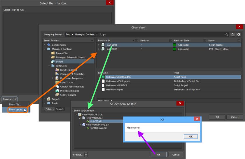 Выберите запуск скрипта с сервера управляемых данных вместо локального источника с помощью команды From server в диалоговом окне Select Item to Run.