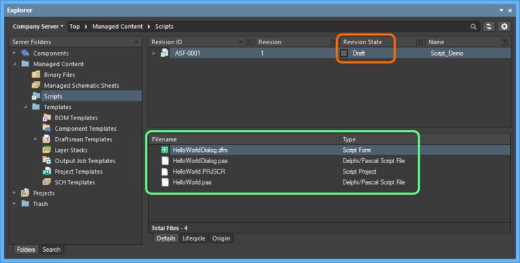 Выгруженный проект, а также все файлы в той же папке, появятся в списке на вкладке аспектного вида Details ревизии объекта Script Item.