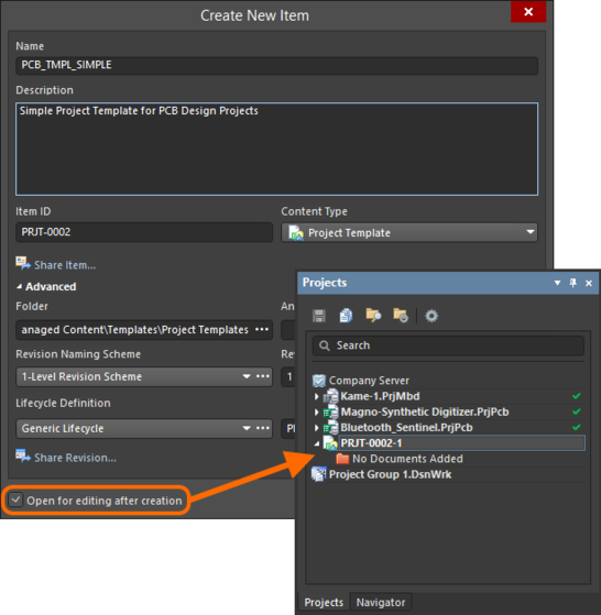 Example of editing the initial revision of a Project Template Item, directly from the managed content server - the temporary editable project is opened in the Projects panel, ready for you to add documents, and configure as required.