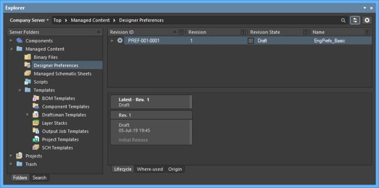 Browsing the released revision of the targeted Designer Preferences Item, back in the Explorer panel.