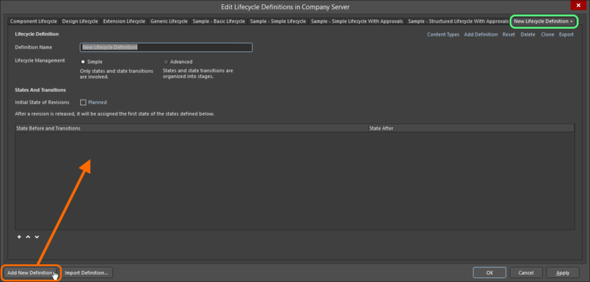 Create your own, custom lifecycle definition.
