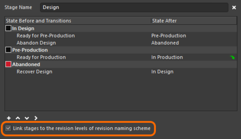 Option to link stages to revision levels.