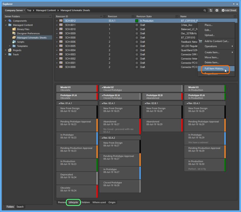Доступ к виду Item из панели Explorer. Обратите внимание, что управление ревизиями и жизненным циклом также может быть выполнено из вкладки аспектного вида Lifecycle объекта в панели Explorer.