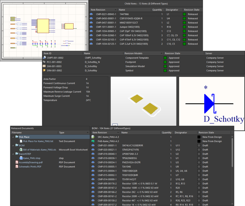 Данные на виде Item, представленные для ревизий объектов трех различных типов: объект управляемого листа схемы (вверху), объекта компонента (в центре) и объекта данных для изготовления печатного узла (внизу).
