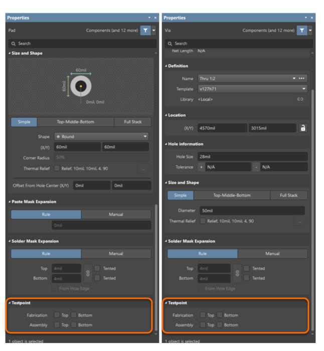 Выделенная контактная площадка или переходное отверстие указывается для использования в качестве контрольной точки с помощью соответствующих опций, доступных в панели Properties.