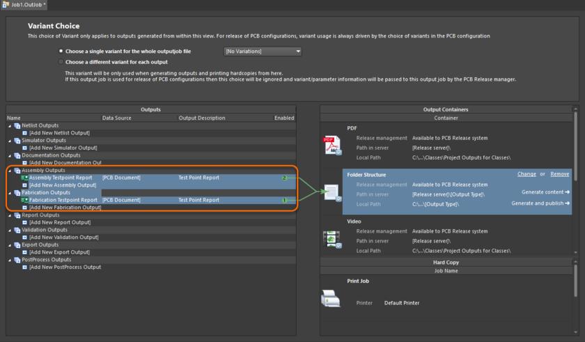 Добавление и настройка выходных отчетов о контрольных точках для испытаний печатной платы и печатного узла в самостоятельном и универсальном файле Output Job. Когда отчеты настроены, вы можете получить их в одно нажатие кнопки.