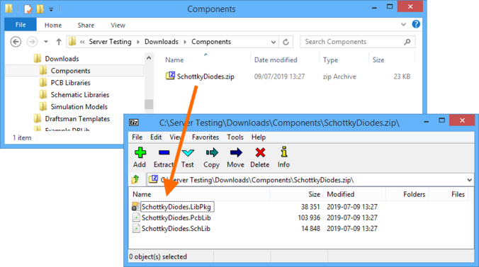 Resulting Zip archive with the source for the downloaded components.