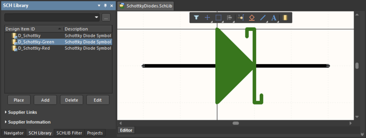 Resulting Schematic Library document with the downloaded symbols.