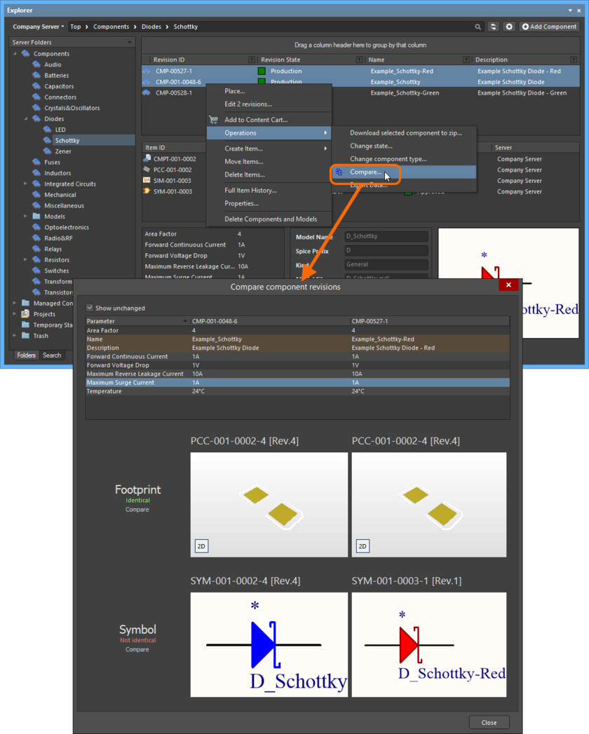 Example comparison of two revisions of a Component Item.