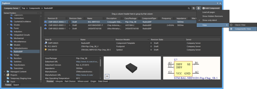 Access the Components View for a Components-type folder, presenting the Component Items in terms of their parametric data. Hover over the image to see the result of switching back to the Classic View.