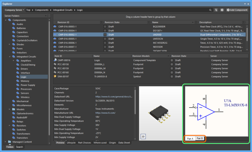 Browsing the parts of a multi-part Component Item, at the component-level.