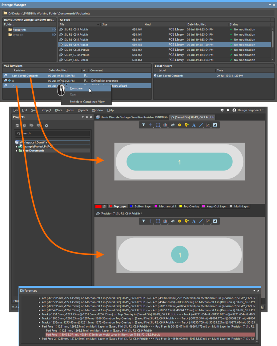 A graphical comparison of two versions can be performed, the Differences panel details all of the detected differences