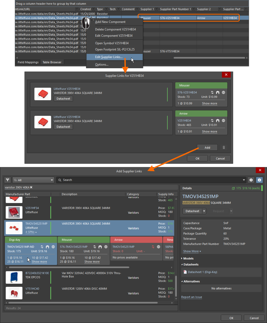 Existing supplier links can be edited via the right-click menu