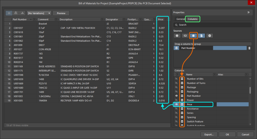 Report Manager dialog, showing how to include additional database information in the BOM