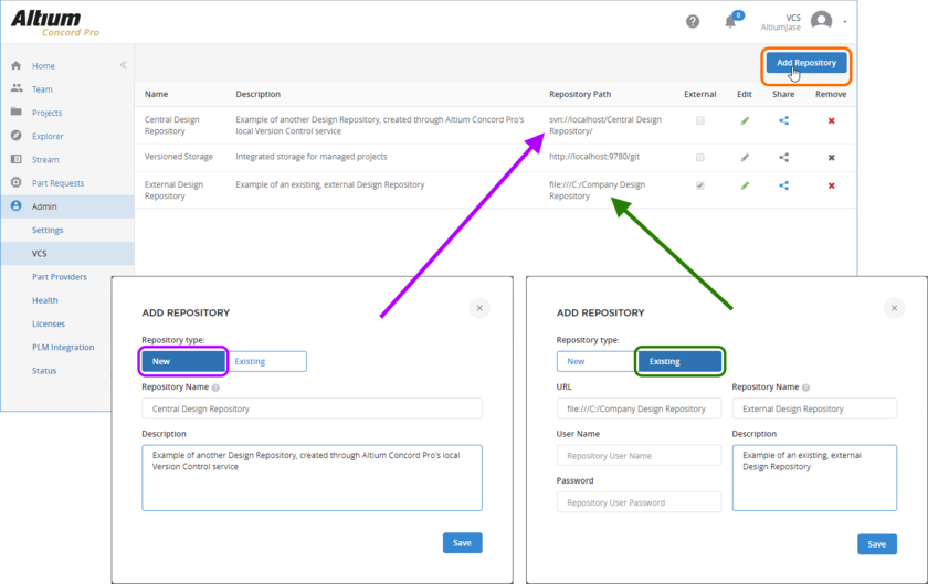 Create a new SVN-based Design Repository through Concord Pro's local Version Control service, or link to an existing repository (SVN or Git) that has been created external to the server.