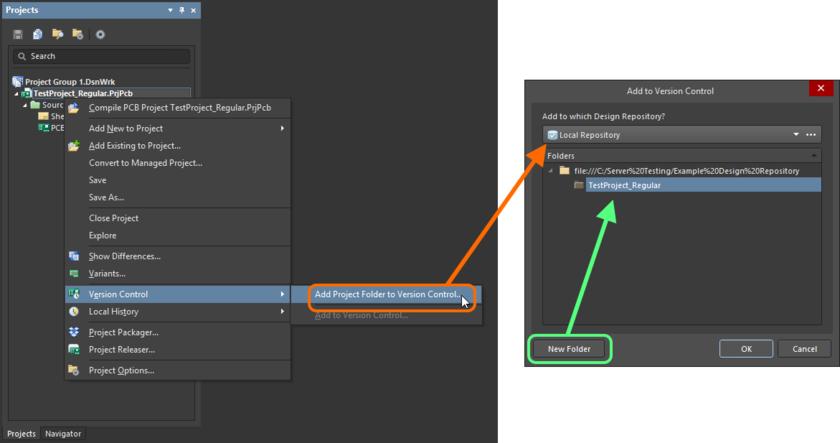 Adding a Local design project to a local design repository.