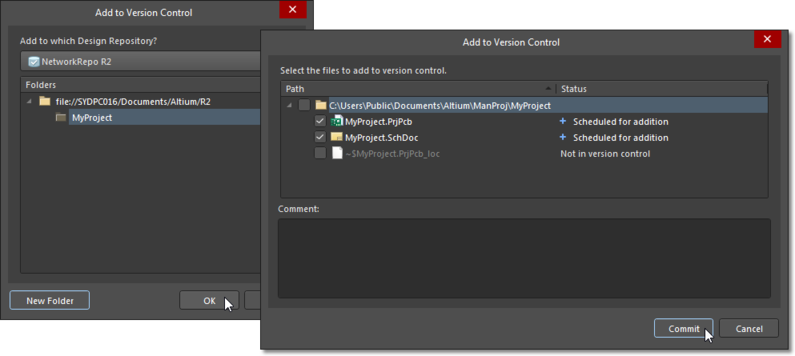 Add to Version Control dialog, used to add documents to the VCS repository