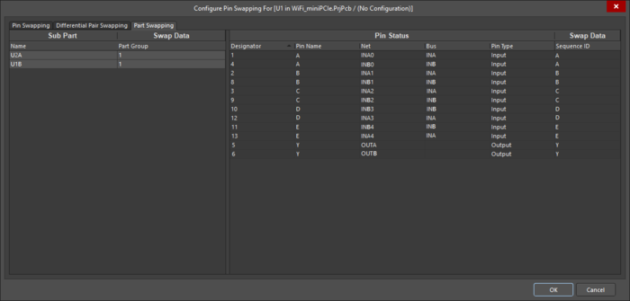 Setting up part swap groups in the Configure Pin Swapping dialog for a Dual 5-Input NOR Gate component.