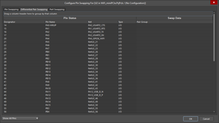 Setting up Pair Swap groups in the Configure Pin Swapping dialog.