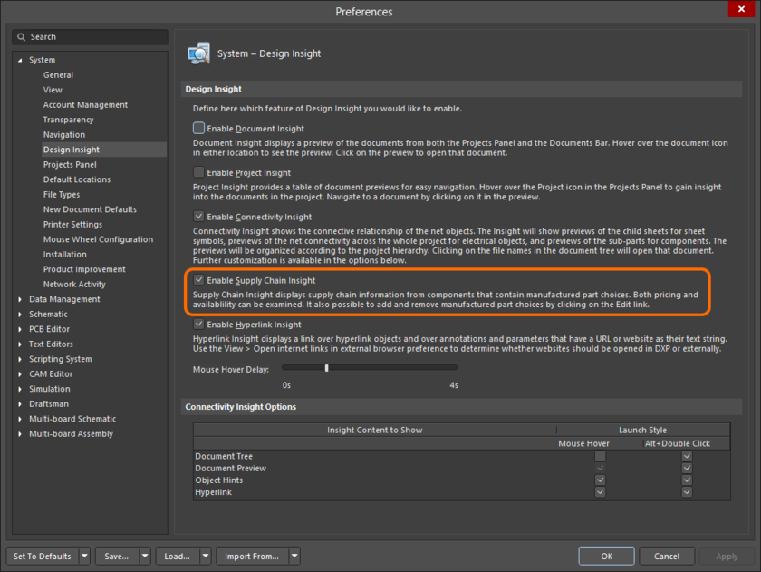 Enable Supply Chain Insight as part of your system preferences.