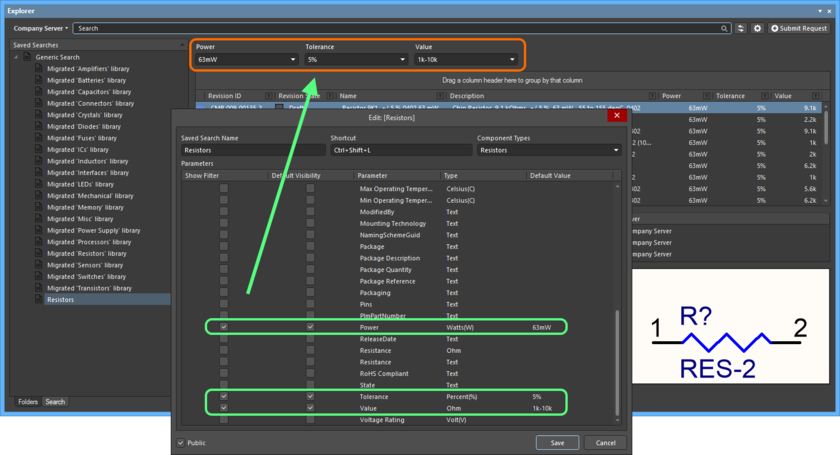 An example of a focused saved search - Resistors. The search has three parameters that have their Show Filter option enabled, so fields for those parameters are presented as part of the search interface.