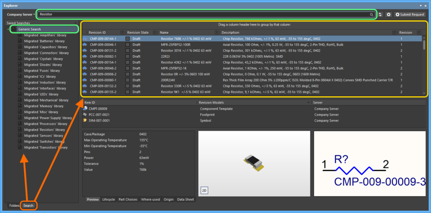 The Search view - a dedicated user interface within the Explorer panel.