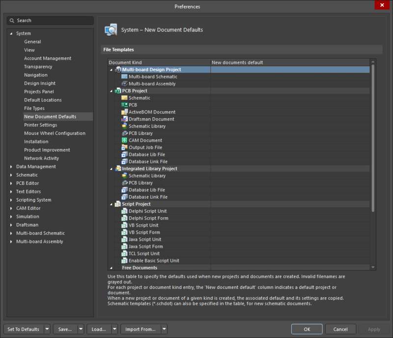 The System - New Document Defaults page of the Preferences dialog