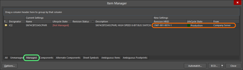 Details regarding the chosen managed Item appear in the New Settings region of the grid, listed under the Managed tab.