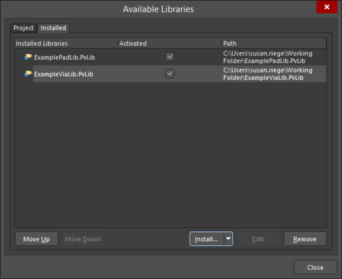 Install an external Pad Via Library, or use the Project tab to add an existing library to the current project.