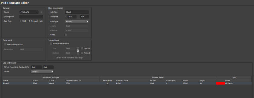 Both Pad and Via Templates are edited by opening the PvLib file. The editor options will change to suit the type of object being edited.