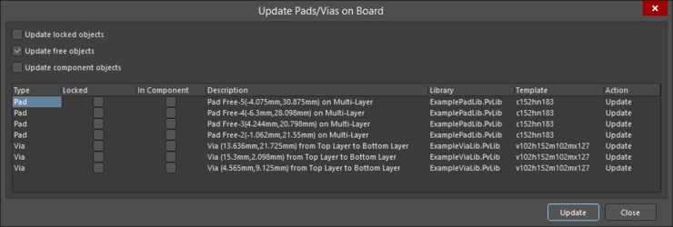 Pad/Via Templates that are detected as differing to their source library version can be updated from the Library to the PCB design.