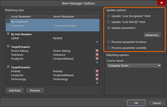 The Item Manager's Update options provide a flexible way to determine which parameters are updated, and under what conditions.