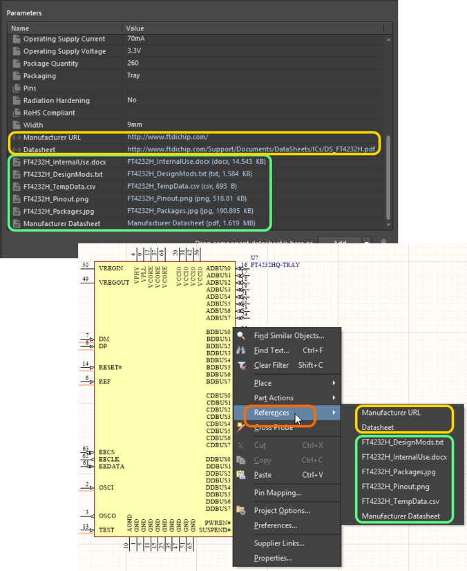 Accessing datasheets for a placed managed component on a schematic sheet.