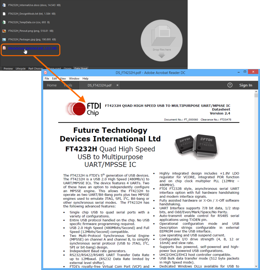 Use the hyperlinked name of the datasheet to quickly access it. In this example a PDF datasheet is opened in the applicable, external PDF Viewer application.