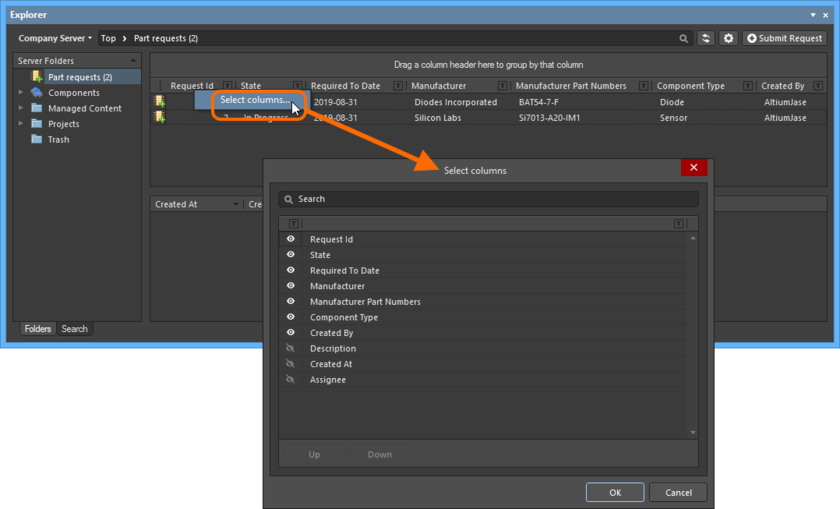 The Select Columns dialog is control central for defining which data is presented in the Part Requests folder.